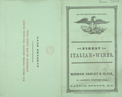 Advert for Norman, Oakley & Oliva, wine merchants
